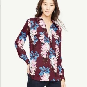 Ann Taylor Long Sleeve Floral Blouse Camp Shirt